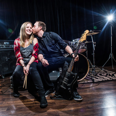 Engagement session, rock and roll, Rehearsal Factory