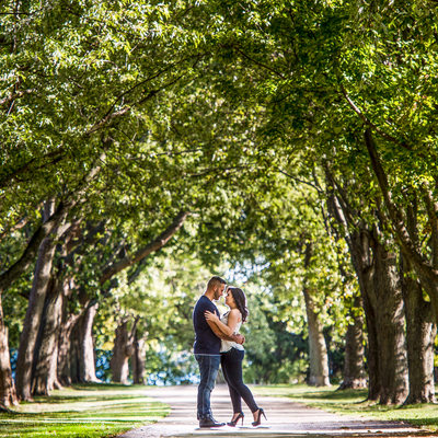 Toronto couple embrace under tree arch