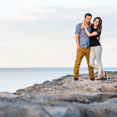 Couple Standing on Rocks at Sam Smith Park