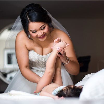 Diaper Change with Wedding Dress