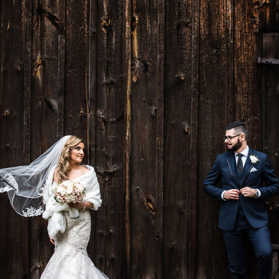 Bride and Groom at the Barn at Benares Historic House