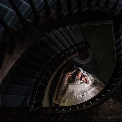 Bride at the Bottom of a Staircase