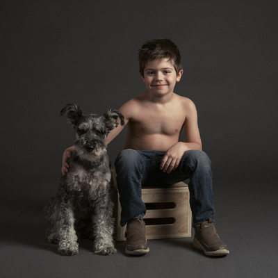 Boy and Dog Portrait in studio