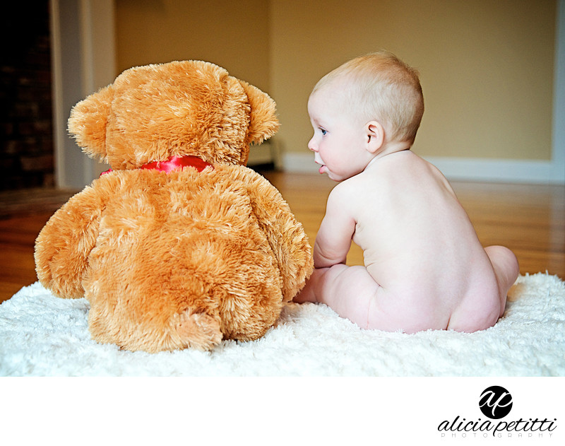Baby and Teddy Bear Portrait Photo Cape Cod