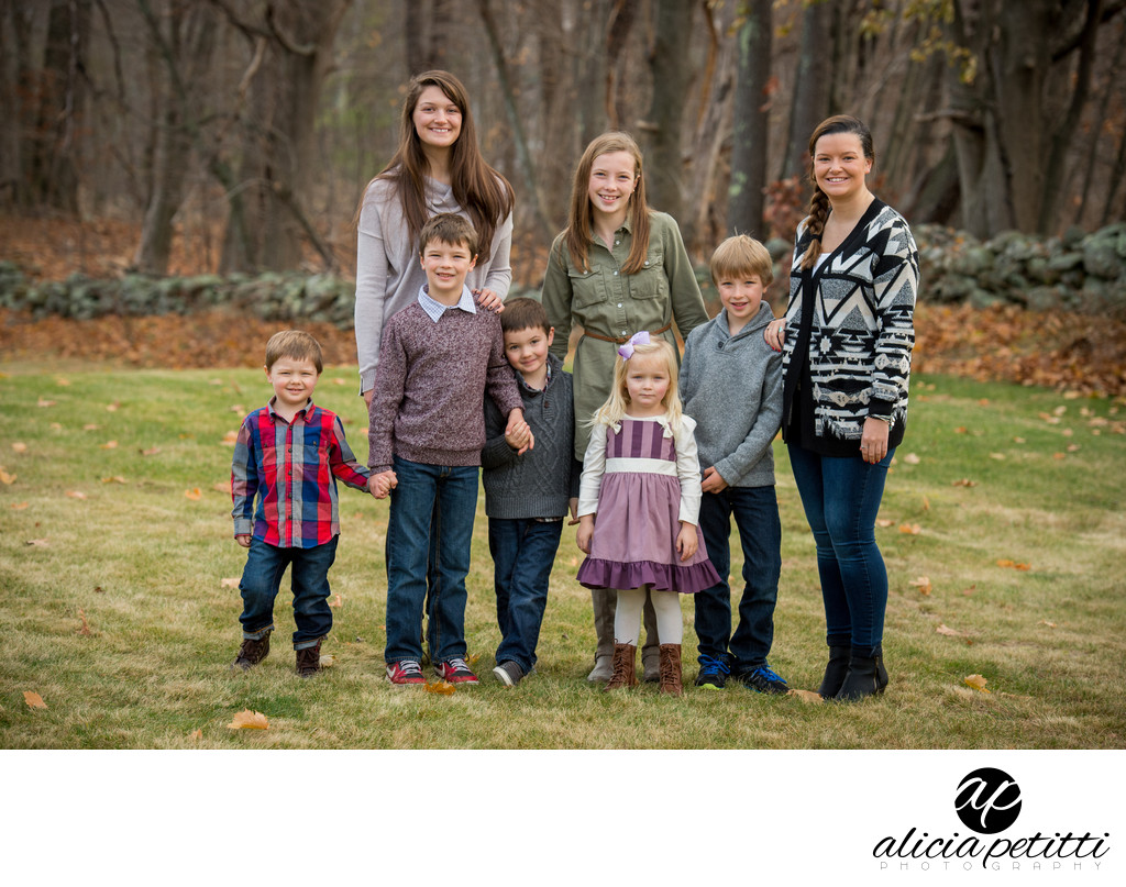 Professional Fall Family Portrait Photographer in Holden MA