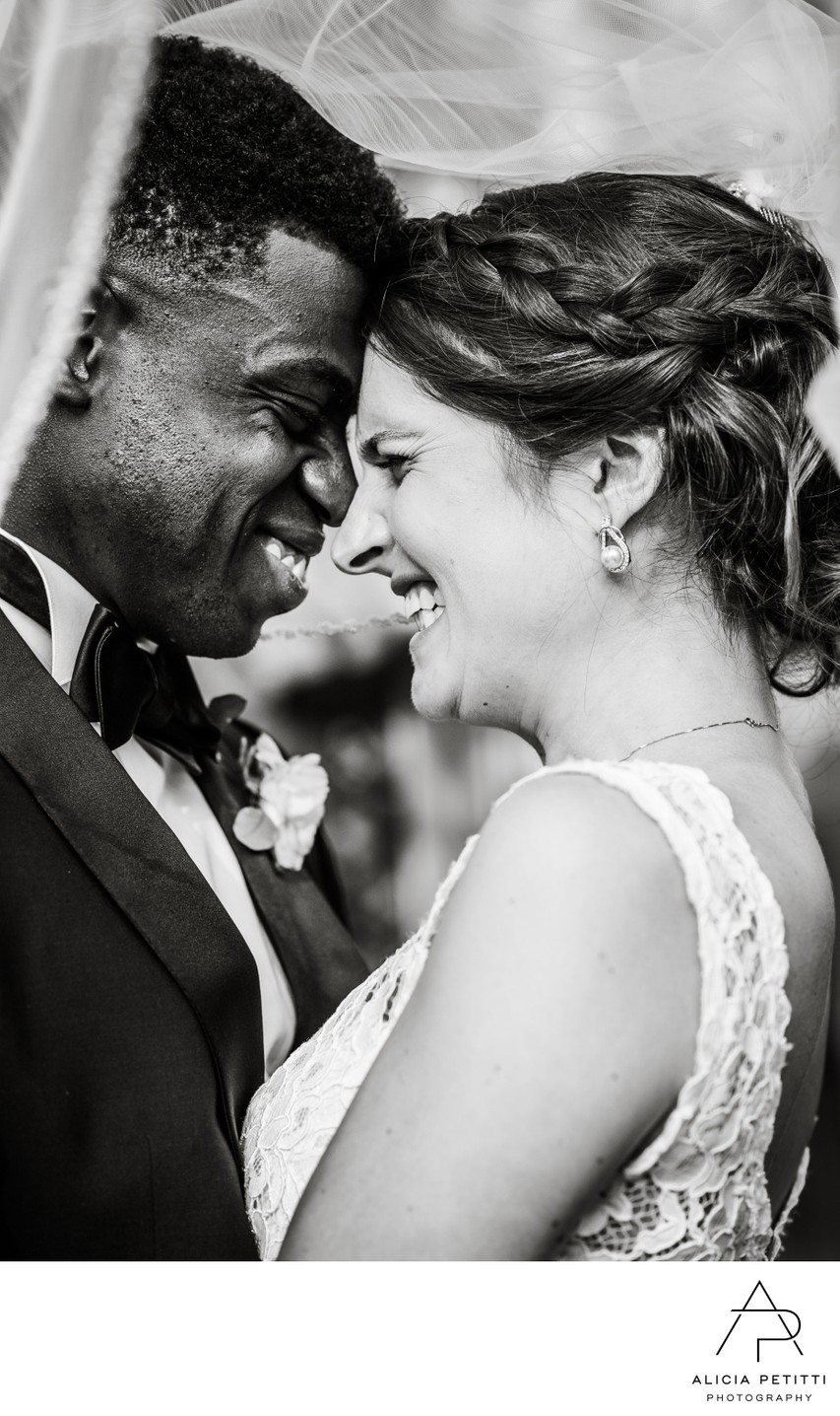 laughing newlyweds at Willow Dale Estate wedding