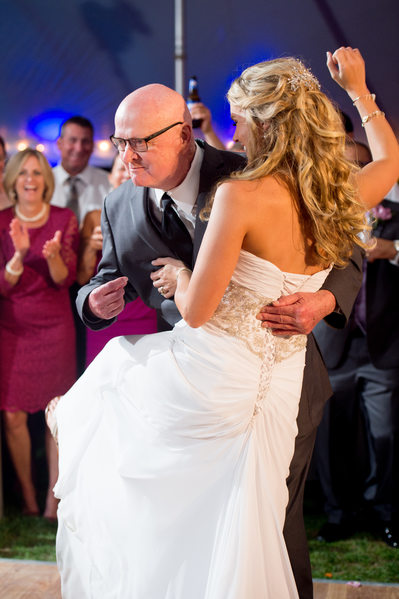 Fun father daughter dance at Cape Cod reception