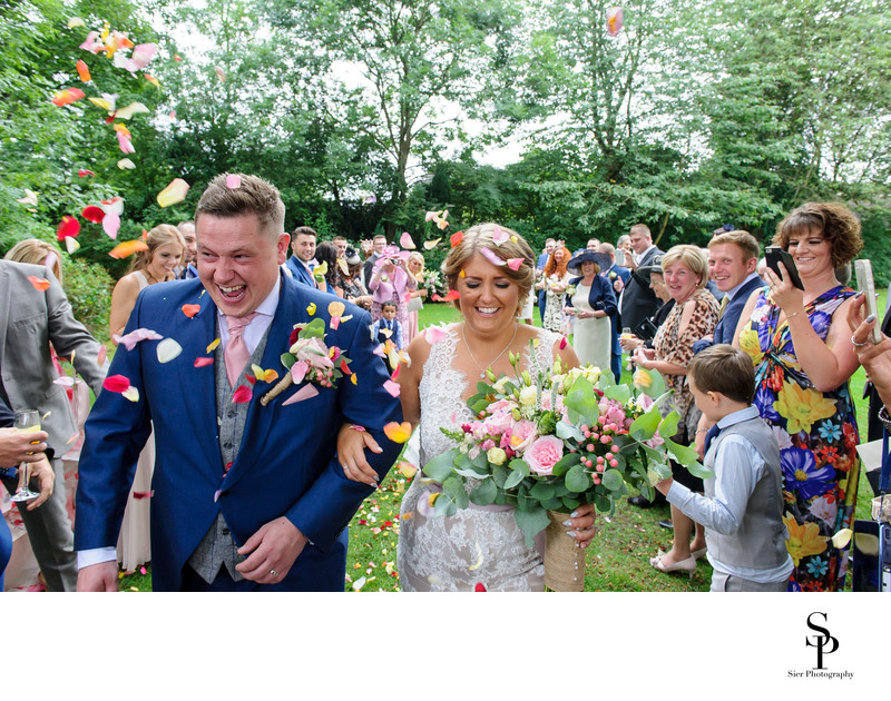 Confetti shower at a Mosborough Hall Wedding