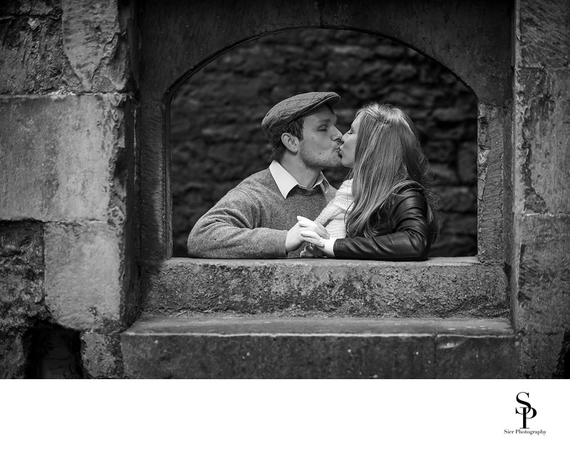Bolsover Castle Engagement Black and White Photograph