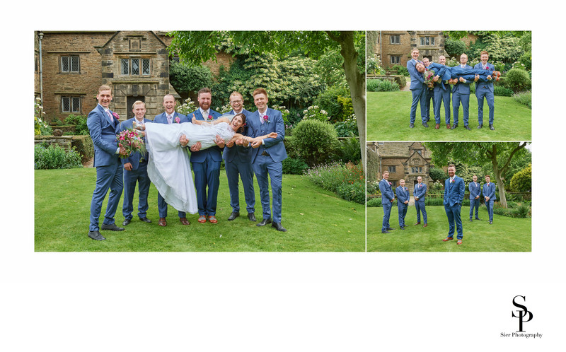 Groomsmen Lift Bride Woodthorpe Hall Wedding