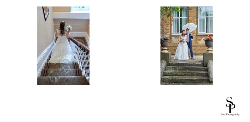 Bride Descends the Stairs at Kenwood Hall Hotel