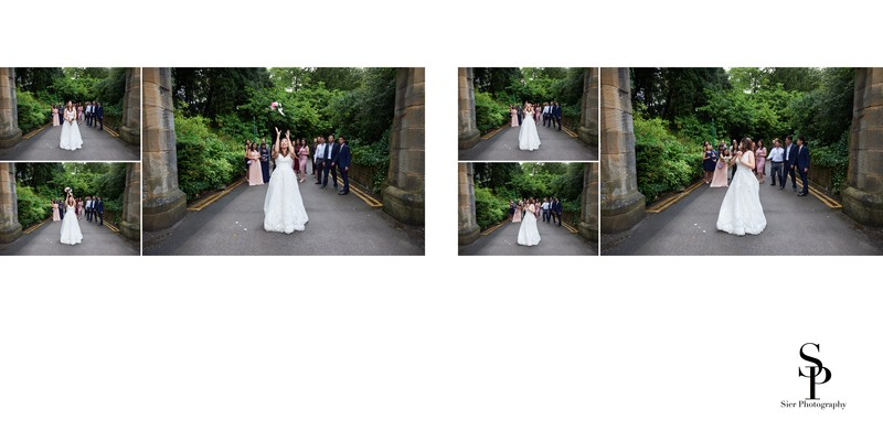 Bride Throws Bouquet at Kenwood Hall Hotel