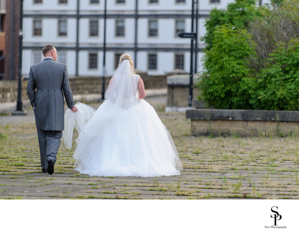 Wedding Day Photo on the Victoria Quays in Sheffield