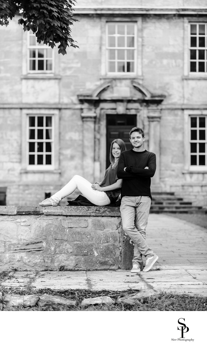 Hellaby Hall Engagement Photograph Black and White
