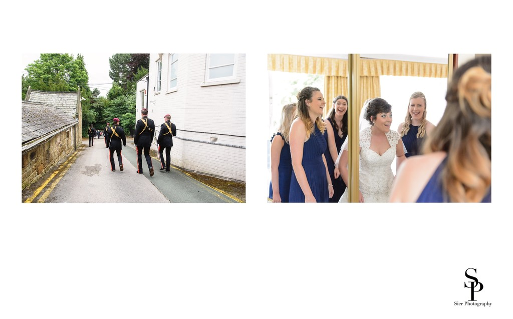Bride and Bridesmaids Share Joke