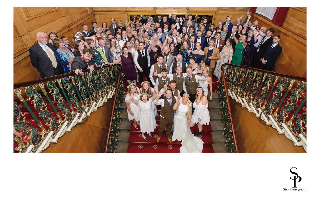 Wedding Party Group Photograph on the Stairs