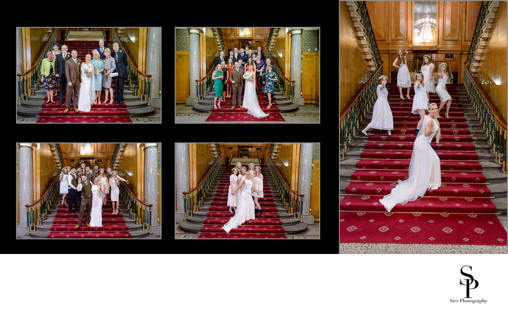Wedding Party on the Stairs