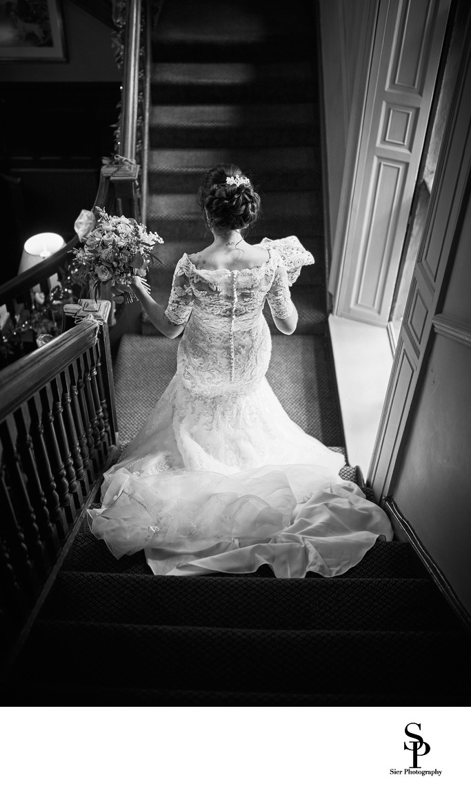 Wedding Photography Sheffield Whitley Hall Hotel Stairs