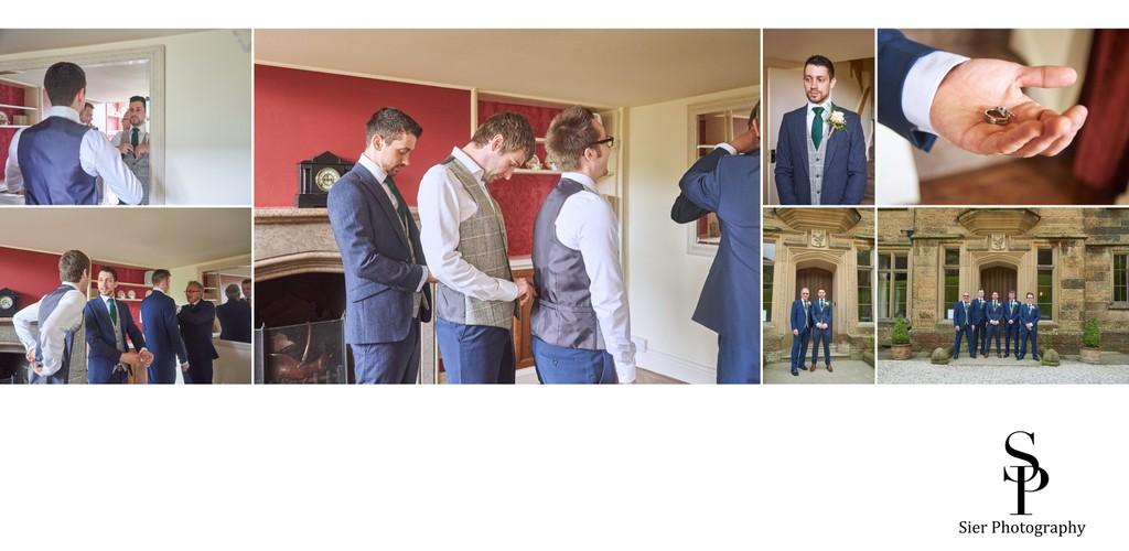 Groom Getting Ready for His Cressbrook Hall Wedding