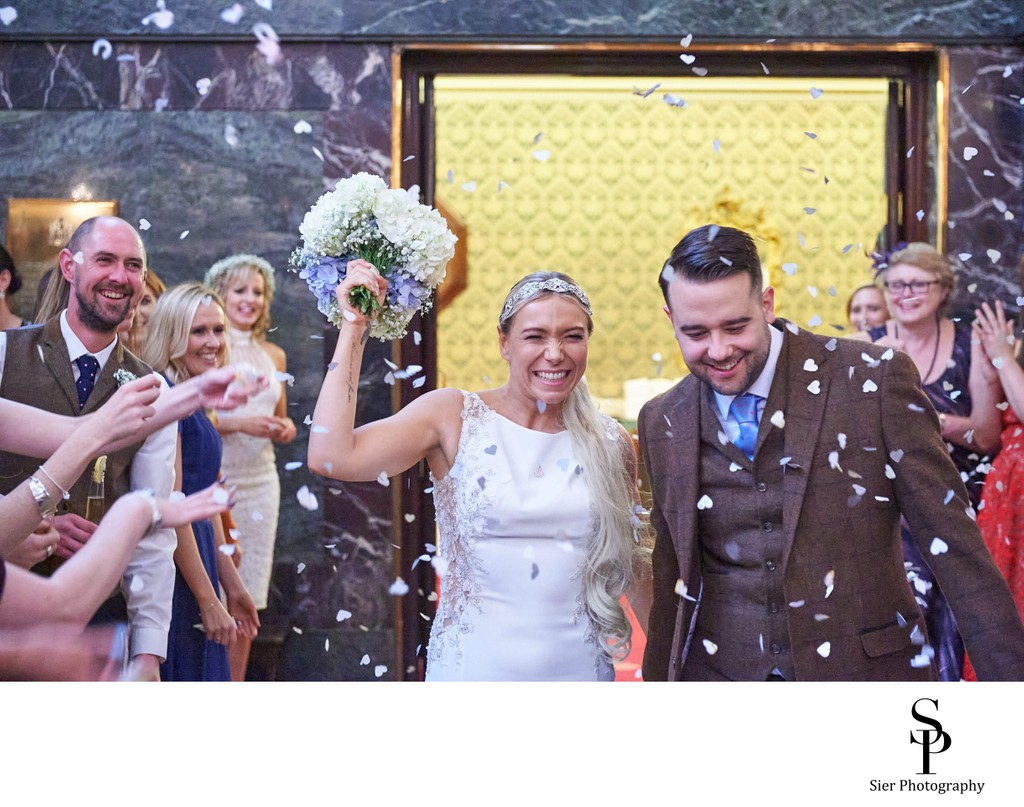 Confetti at a Sheffield Cutlers Hall Wedding