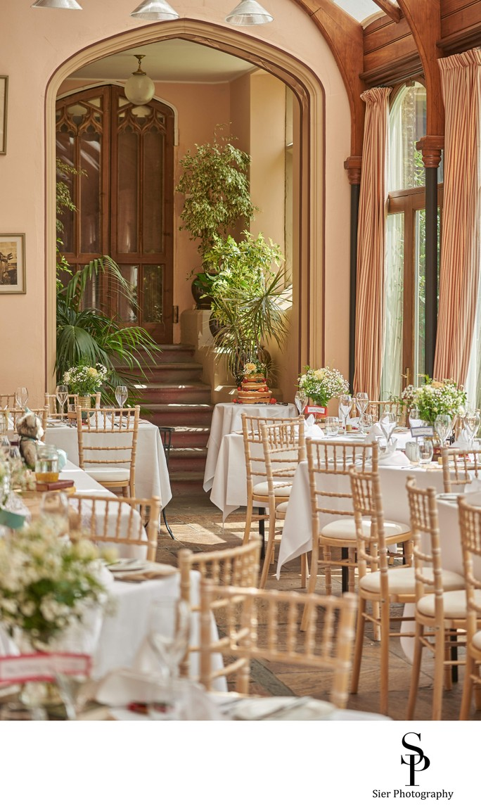 Cressbrook Hall Wedding Reception in the Orangery