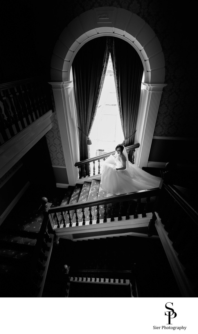 Waterton Park Wedding Photography Bride on Stairs