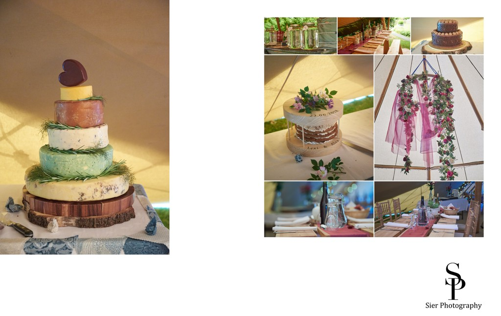 Wedding Cake and Decoration Details at Woodthorpe Hall