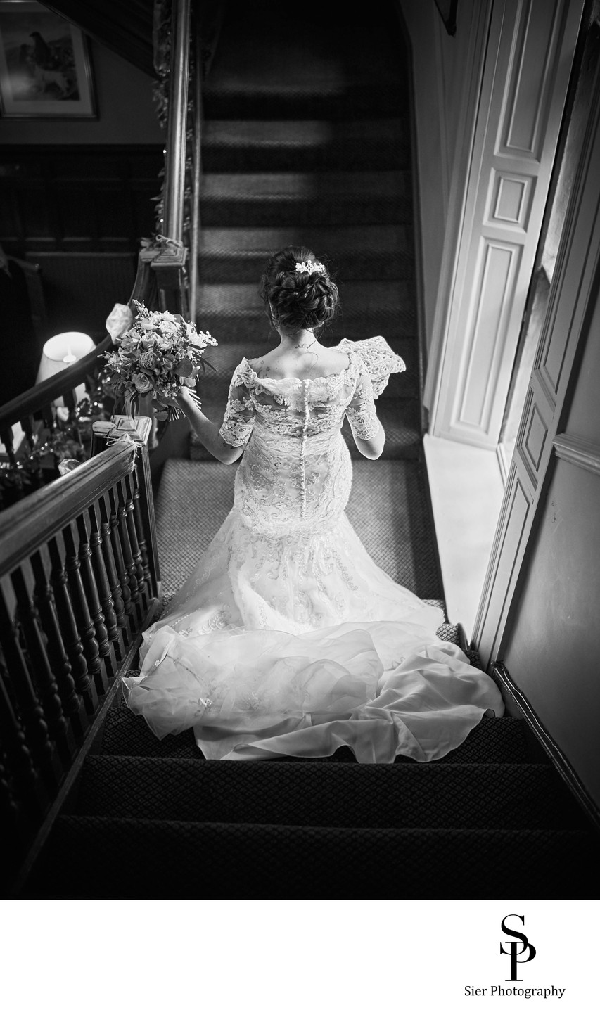 Whitley Hall Hotel Staircase Wedding Photo