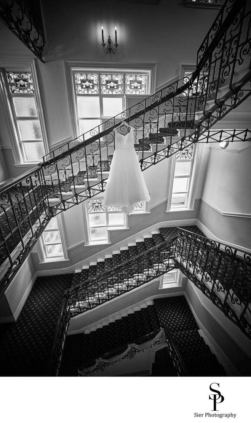 Dramatic Wedding Dress Photography Royal Victoria Hotel