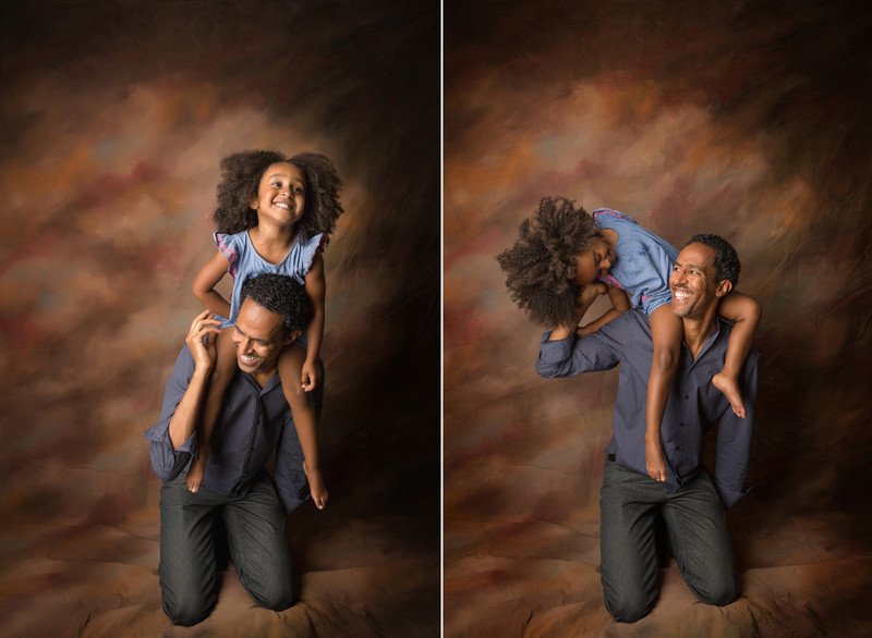 girl goofs around with her father studio backdrop