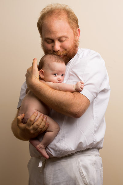 redhead father baby daughter