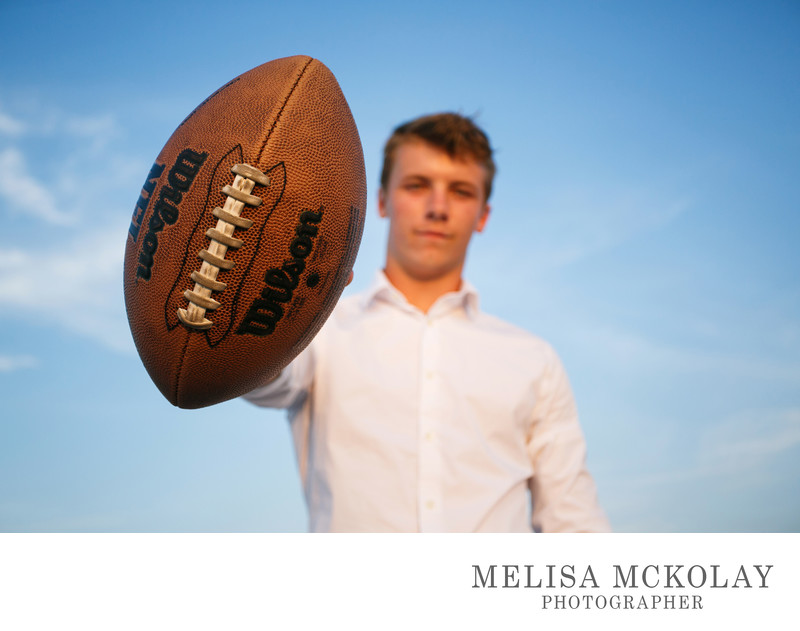 Boom | Unique High School Senior Portrait Football | TC