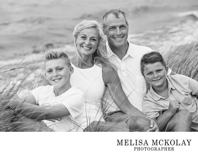 Beach Grass | BW Family Beach Portrait | Northern MI