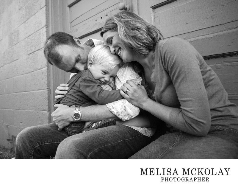 Caught You | BW Family Photojournalism | Downtown TC