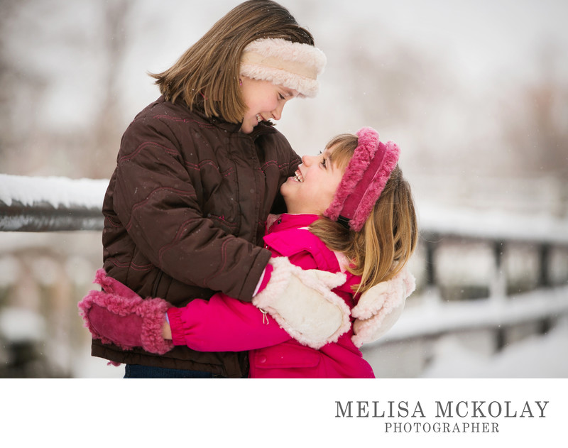 Sister Love | Winter Children's Portrait | Downtown TC