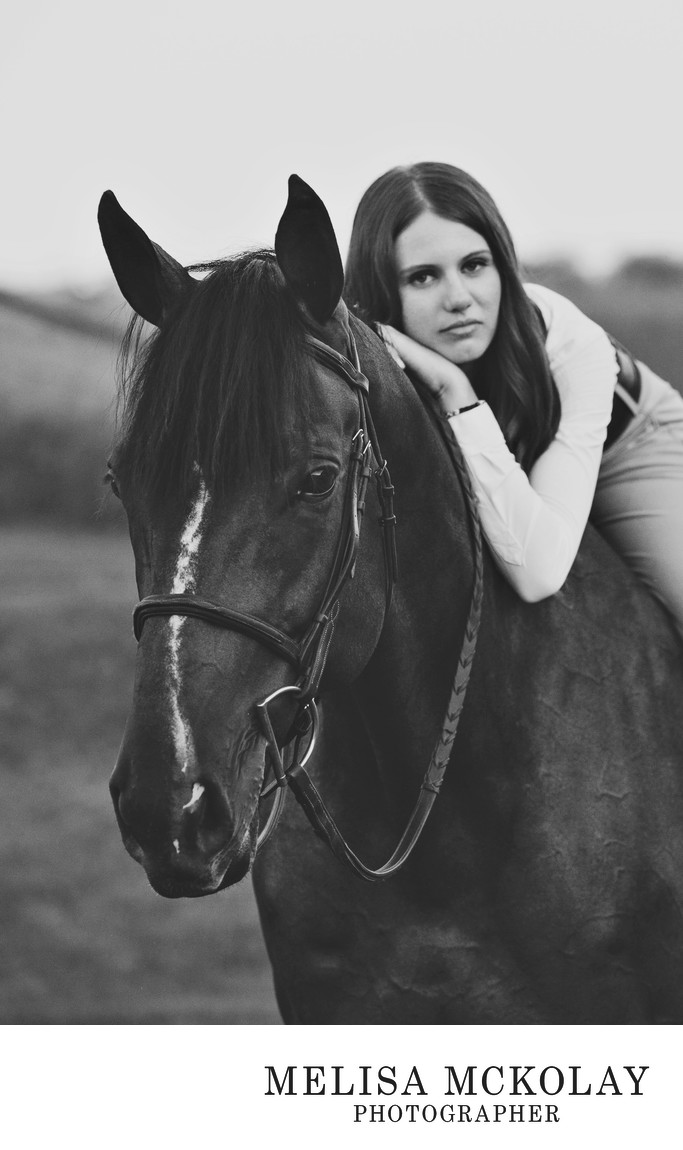 A Girl & Her Horse | BW Fine Art High School Portrait