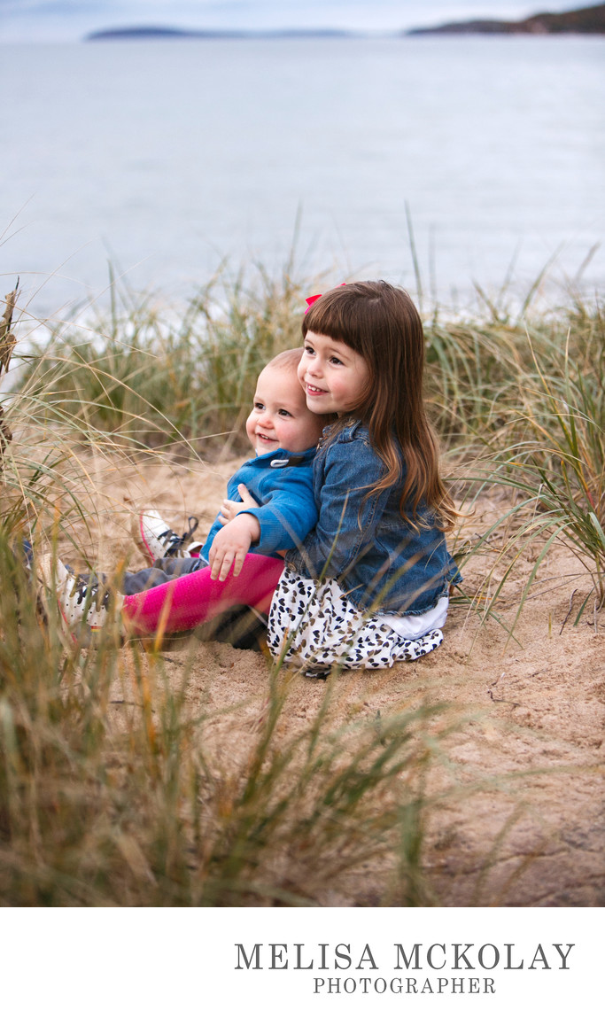 Sibling Snuggles | Kids Beach Portrait | Northern MI