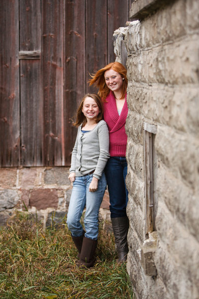 Sisters | Fall Barn Family Portrait | Leelanau County