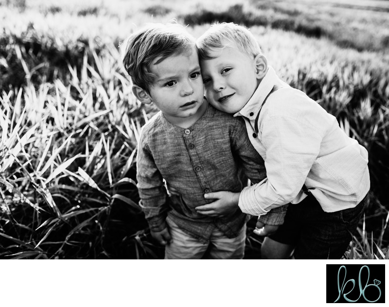 Black and White Photograph of Two Little Boys