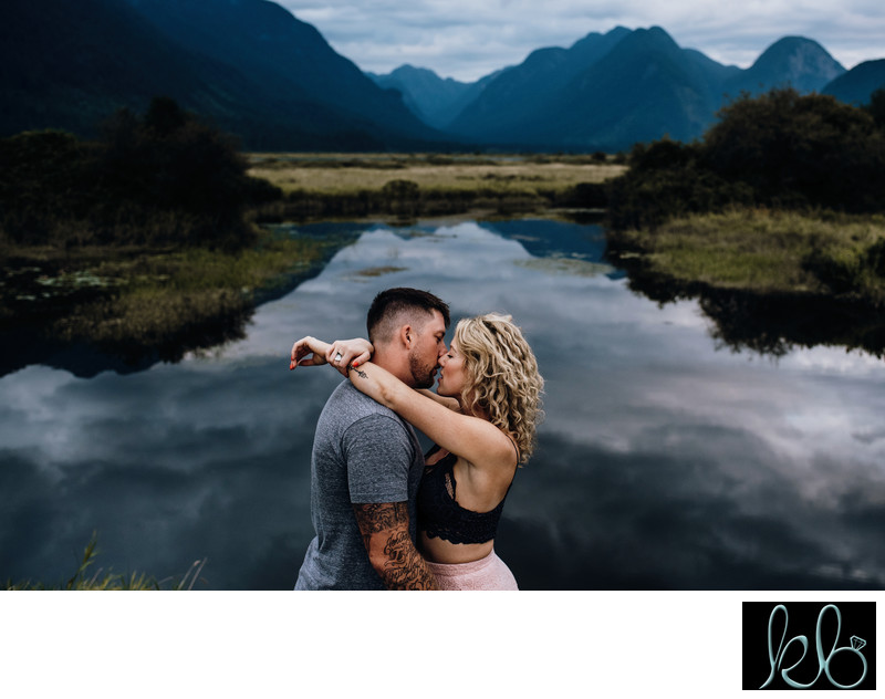 Kissing Photo of Couple at Pitt Lake