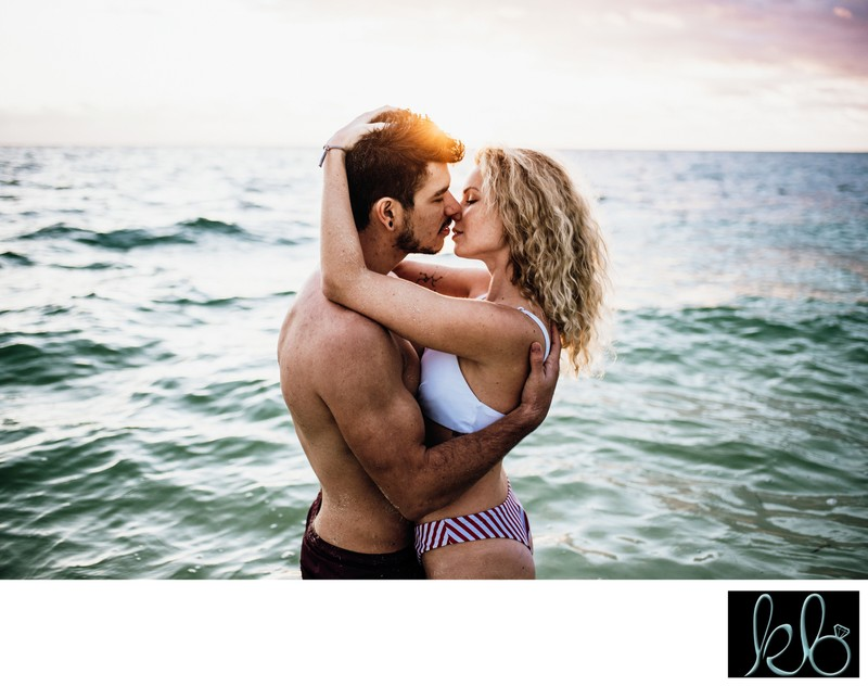 Couple in Love on the Beach in Cancun