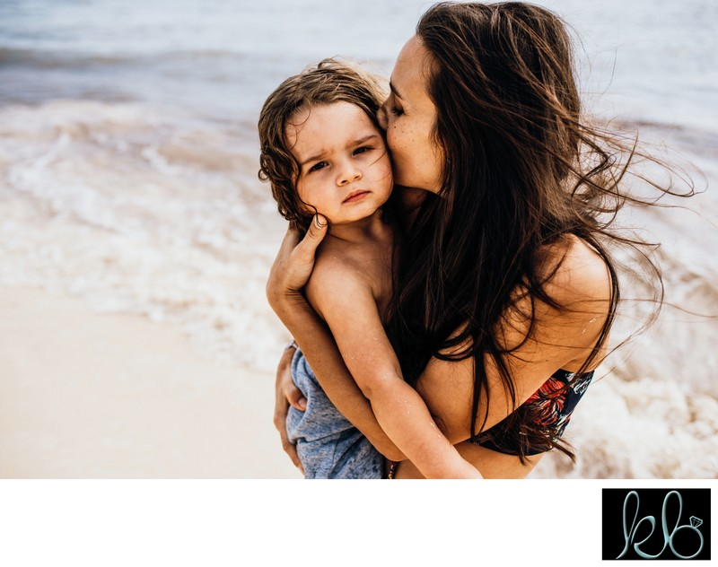 Lifestyle Photos of Mom and Son on the Beach