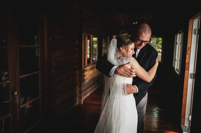 Bride Hugging her Father Before the Wedding Ceremony