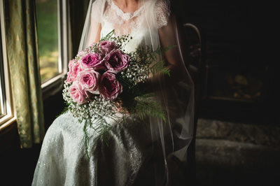Beautiful Bridal Bouquet of Pink Roses