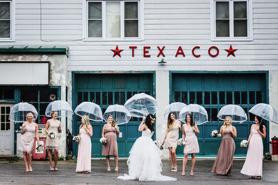 Rainy Bridal Party Photo in Vancouver