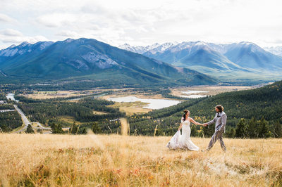 Wedding Photos at Tunnel Mountain Reservoir in Banff