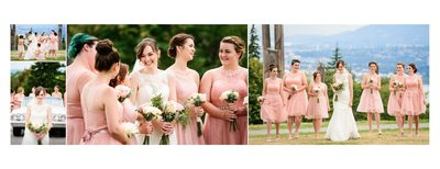 Bridesmaids in Pink Chiffon Dresses