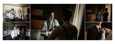 Groom Gets Ready at Whistler Hotel