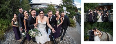 Fun Photos of Wedding Party on Train Tracks
