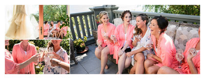 Bridesmaids Wearing Pink Robes Getting Ready